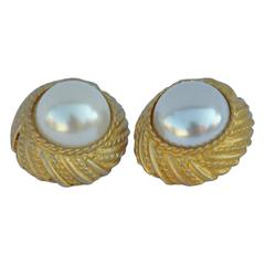 Large Gold Vermeil with Pearl Clip On Earrings