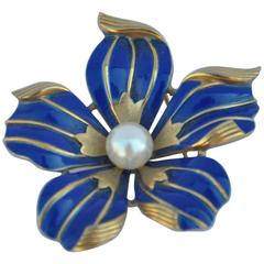 Large Trifari Gold with Navy Enamel and Pearl Floral Brooch