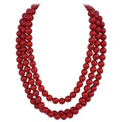 Bold Triple-Strand Blood-Red Necklace