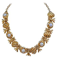Thick Vermeil Gold Hardware with Pearl Necklace