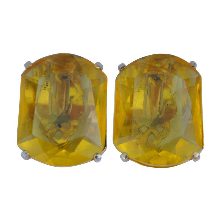 Schiaparelli Gilded Gold with Canary-Hue Ear Clips For Sale