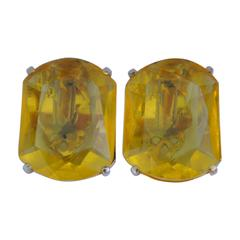 Schiaparelli Gilded Gold with Canary-Hue Ear Clips