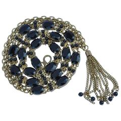 Thick Gold Hardware with Multi-Size Black Stone Chain Metal Belt with Tassle