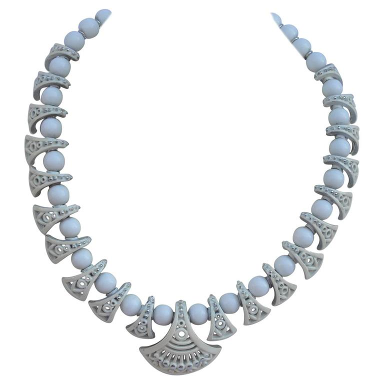 White Enamel Over Silver Hardware Gradual Necklace