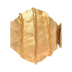 French Gold Plated Modernist Cuff Bracelet