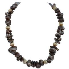 Multi-Size Natural Tri-Color Stones with Gilded Gold Necklace