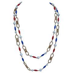 Trifari Gold Tone with Multi Color Necklace