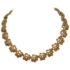 Trifari Bold Gilded Gold Floral Style Necklace