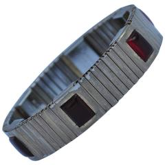 Magor Stainless with Multi Ruby Resin Magnetic Bracelet