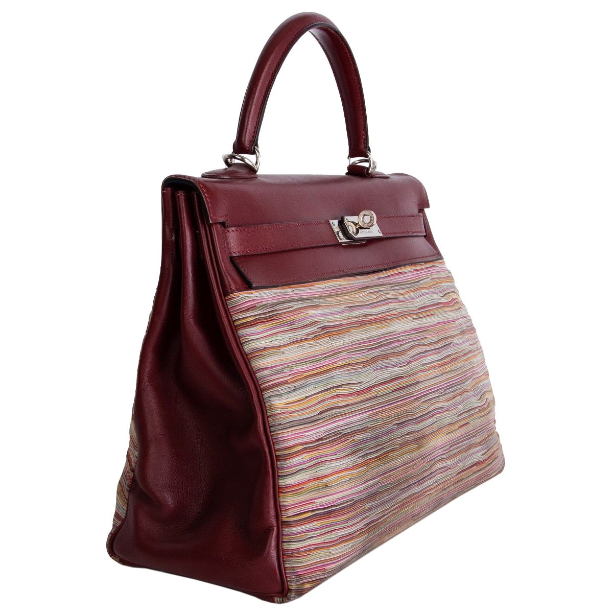 HERMES Rouge H burgundy leather VIBRATO KELLY 35 RETOURNE Bag