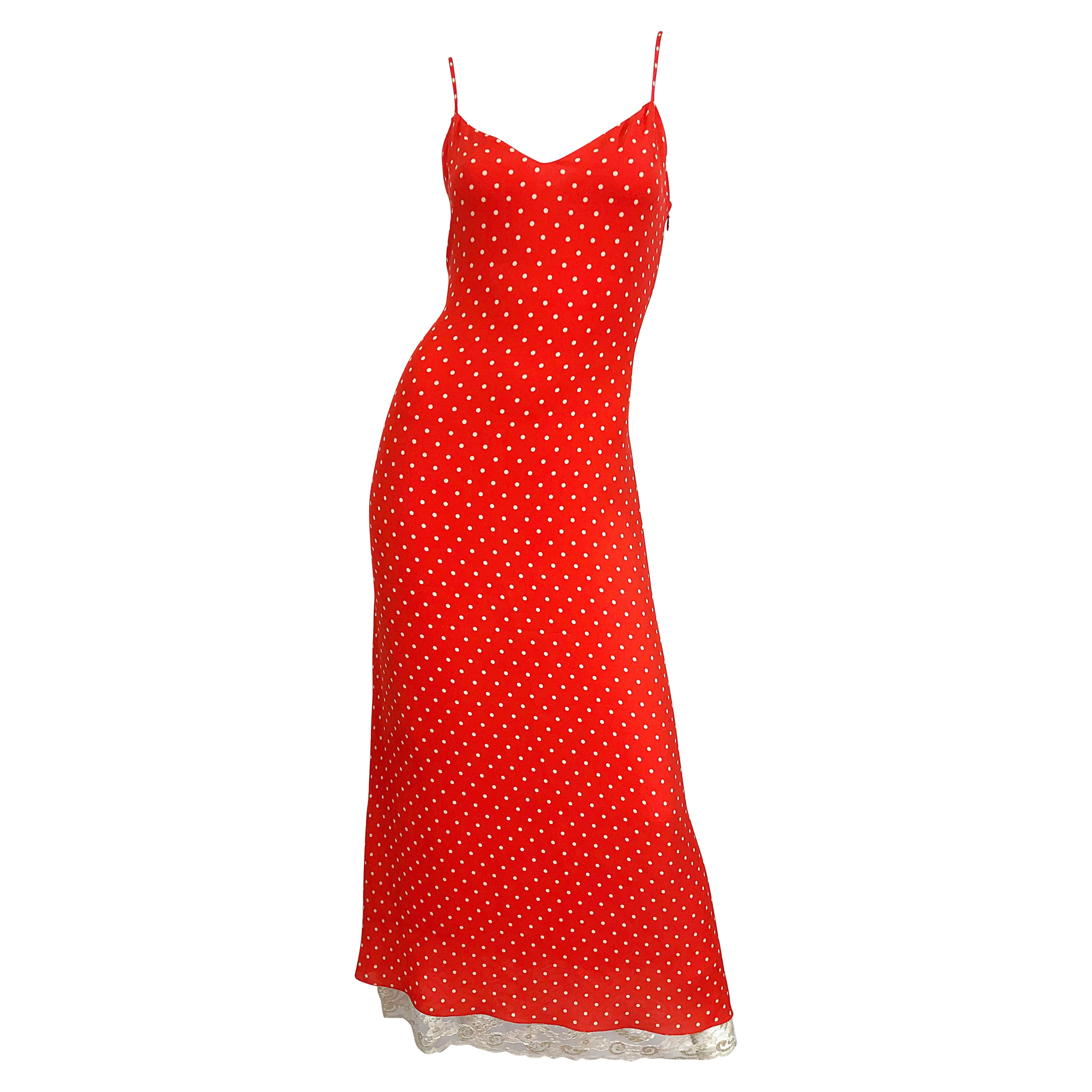 Vintage Valentino Size 8 / 10 Red and White Silk + Lace Polka Dot Gown 70s Dress