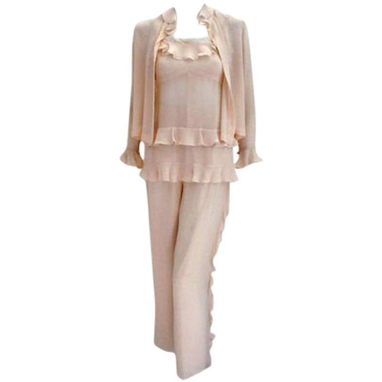 Chanel Two Piece Ivory Silk Blouse and Pant set, Circa 2000