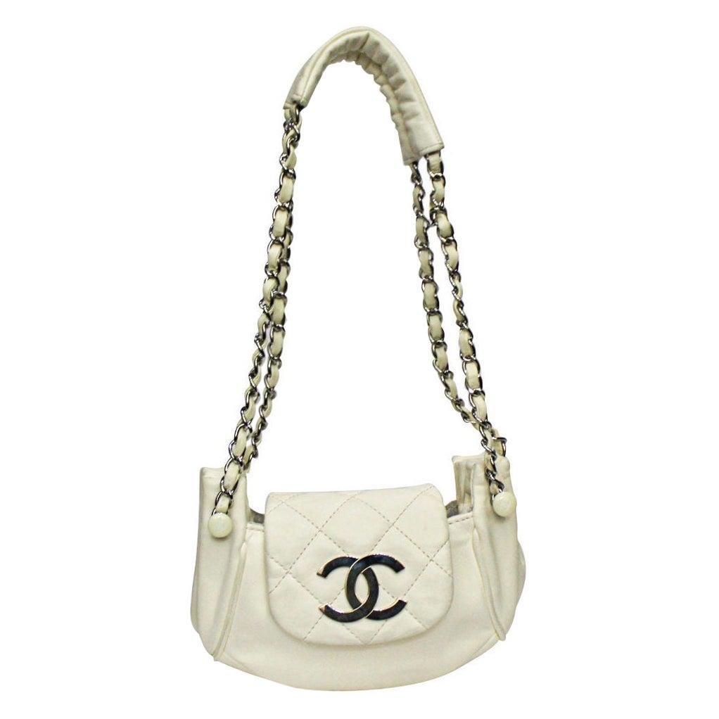 Chanel White Leather Diamond Stitch Shoulder Bag