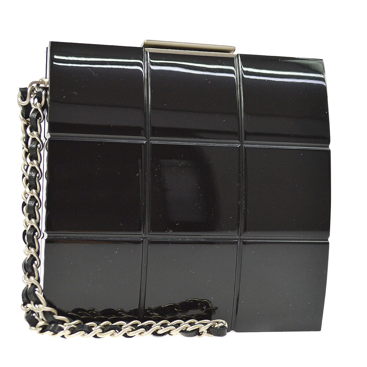 Chanel Runway Black Plastic Silver Chain Evening Clutch Bag