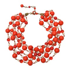 Miriam Haskell 5 Strand Faux Pearl & Orange Red Glass Bead Necklace