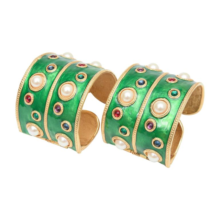 Pair of Enameled Emerald Green, Faux Pearls & Colored Stones Cuff Bracelets 1