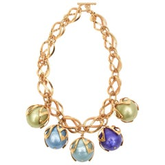 Dominique Aurientis 4 Ball French Gold Link and Resin Ball Necklace