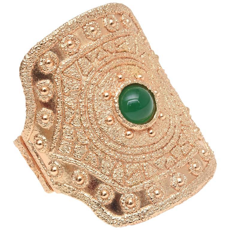 Vintage Napier Textural Gold Plated Green Glass Cuff Bracelet 1