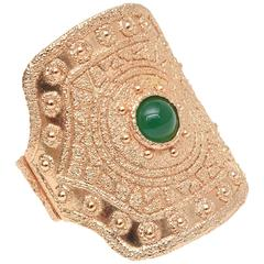 Napier Vintage Textural Gold Plated Green Glass Cuff Bracelet