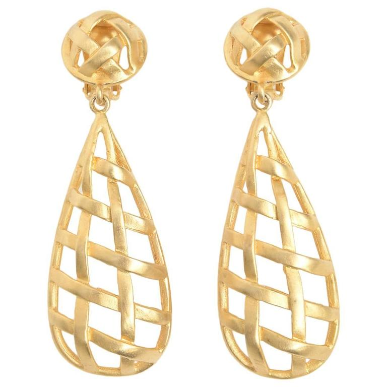 Pair of Gold Plated Criss Cross Cage Dangle Earrings For Sale