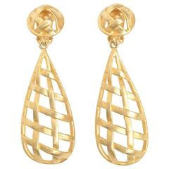Pair of Gold Plated Criss Cross Cage Dangle Earrings