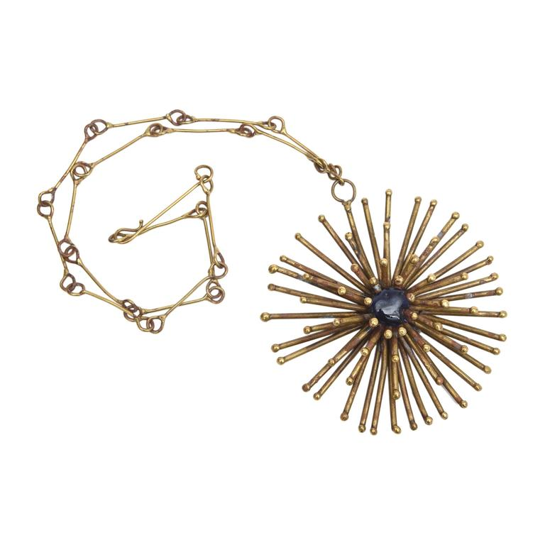 Bronze Hand Wrought Sculptural Starburst Medallion and Blue Stone Necklace /SALE 1