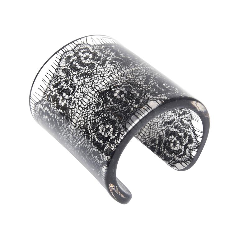 Wide French Resin Black Lace Cuff 1
