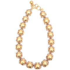 Vintage Anne Klein Gold Ball/ Silver Loop Necklace