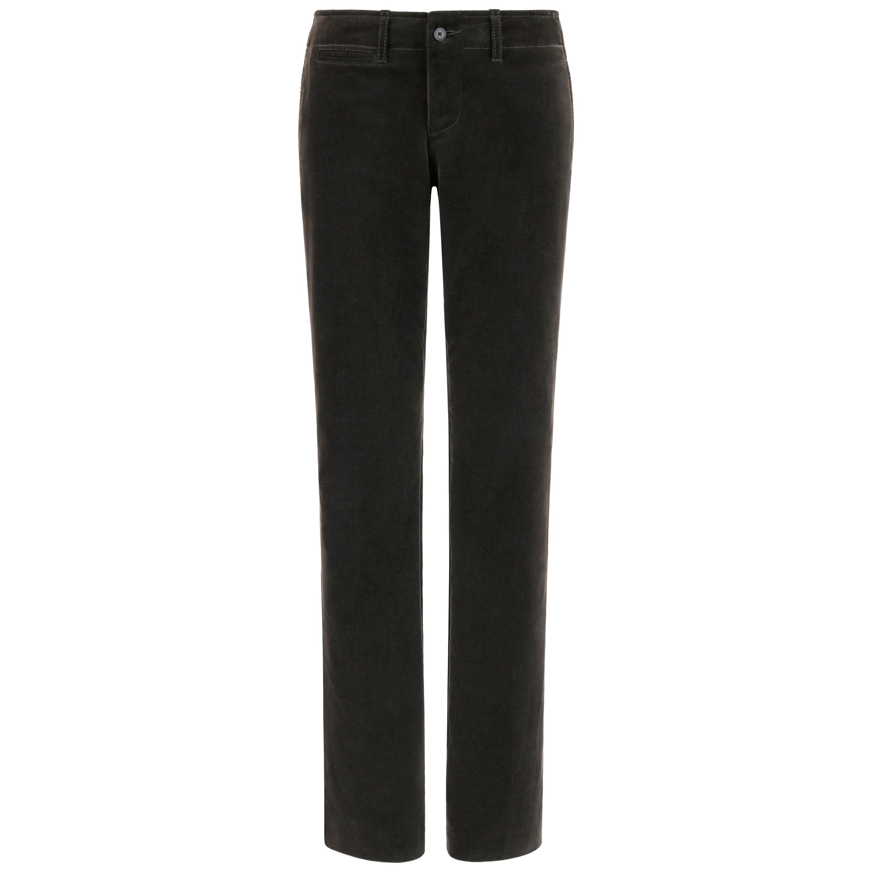 GUCCI Tom Ford c. 1990's Dark Gray Green Velvet Straight Leg Trousers Pants 42