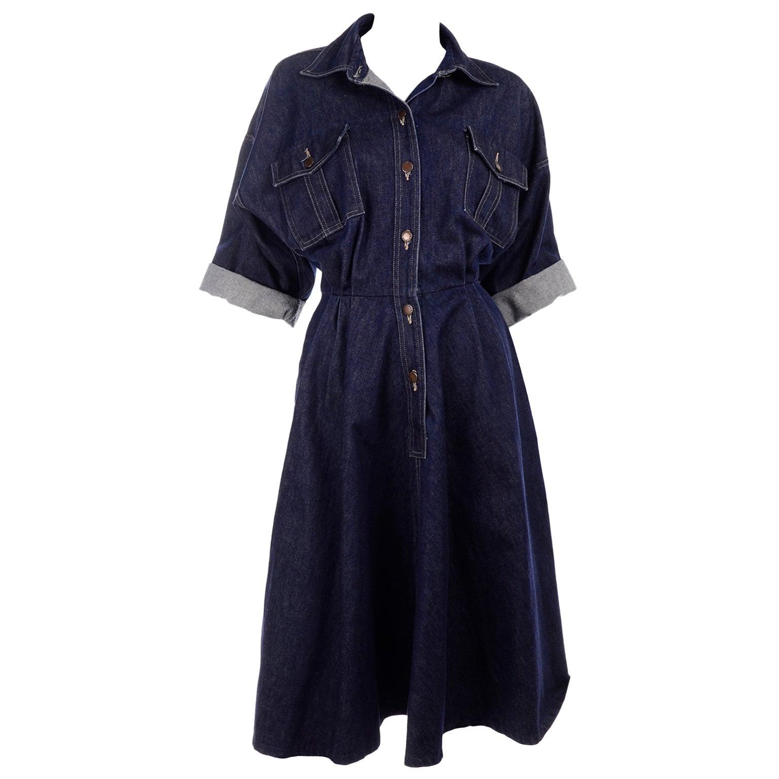 Norma Kamali OMO 1980s Vintage Dark Blue Denim Dress