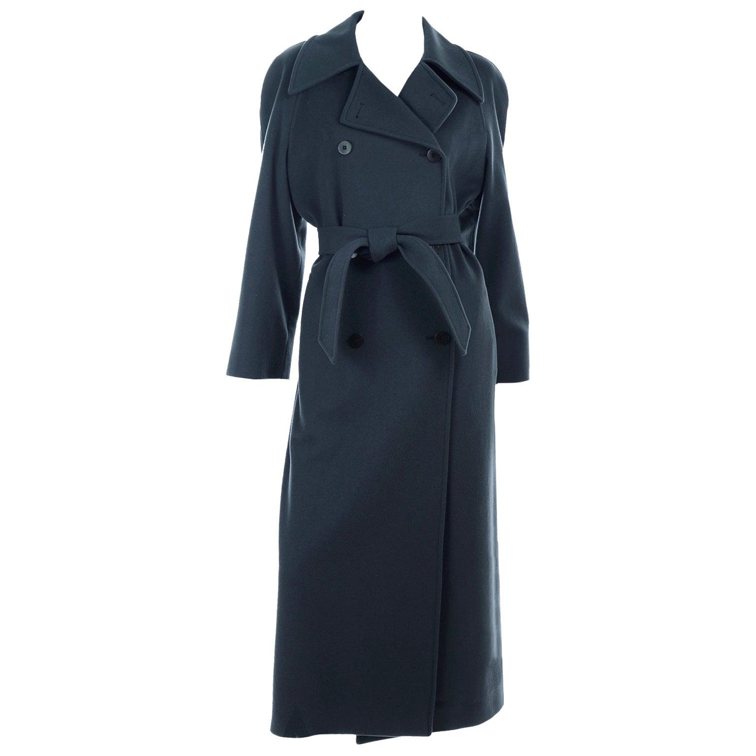 Giorgio Armani Le Collezioni Deep Gray Green Double Breasted Wool Coat