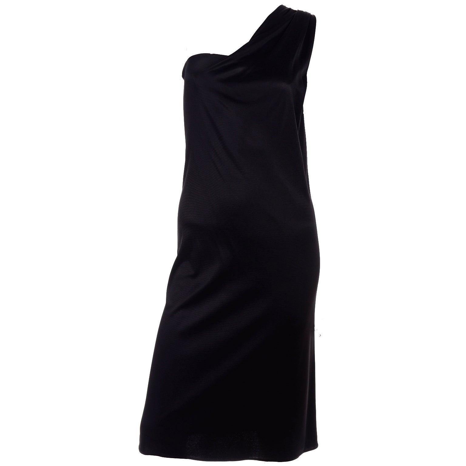 Gianni Versace Couture 1998 Vintage Black One Shoulder Dress Medusa Buckle