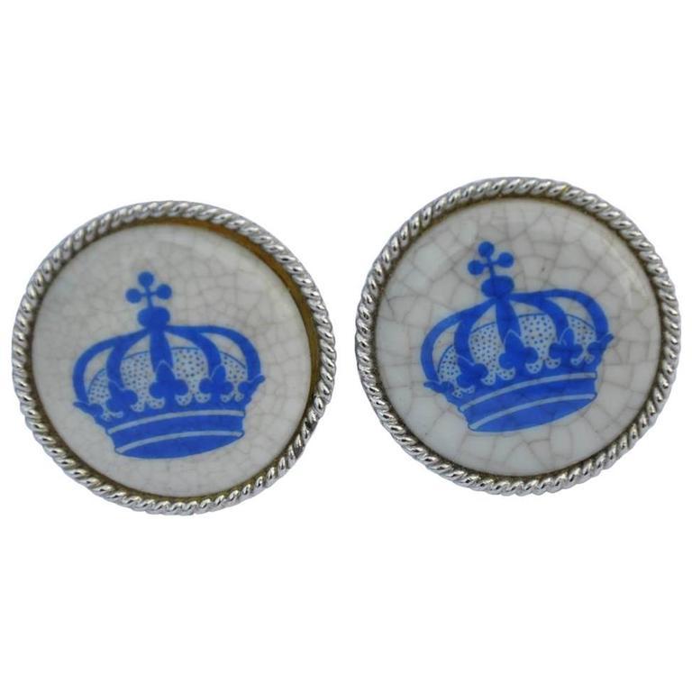 """Crown"" Enamel with Silver Hardware Cufflinks"