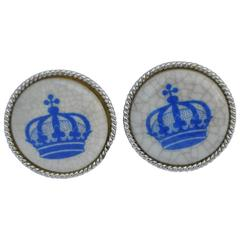 """Crown"" Enamel with Silver Hardware Cufflinks"