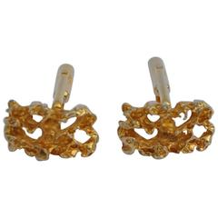 "Gilded Gold Tone ""Gold Nugget"" Cufflinks"
