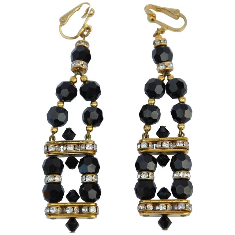 Red Givenchy Chandelier Earrings: Givenchy Gold With Black Crystal Earrings For Sale At 1stdibs