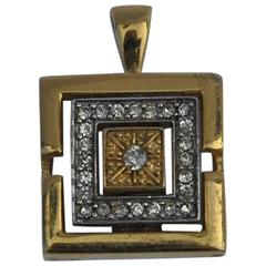 Givenchy Gold & Silver Tone Accented with Rhinestone Pendant
