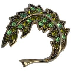 "Trifari Gold Vermeil with Emerald Green Rhinestone ""Leaf"" Brooch"