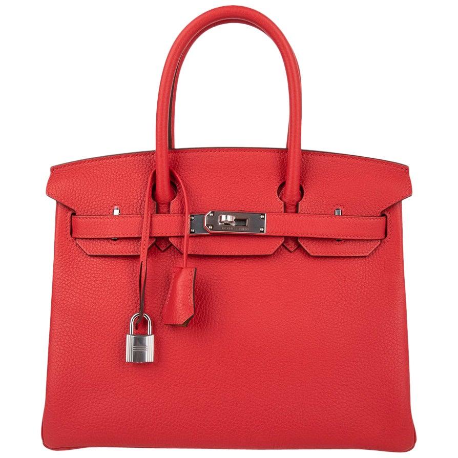 Hermes Birkin 30 Bag Bi-Color Rouge Tomate Natural Sable Togo Palladium