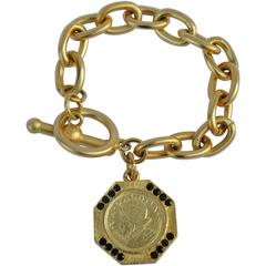 Gilded Gold Vermeil Finish Chain Bracelet with Coin