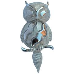 "Trifari Gilded Silver ""Owl on Branch"" Brooch"