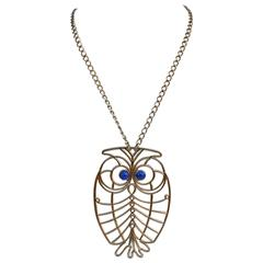 "Huge Napier ""Owl"" Gold Tone Pendant with Necklace"