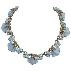 Trifari White Pour Glass and Gold Floral Necklace