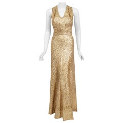 Vintage 1930's Couture Metallic Gold Textured Lamé Backless Bias-Cut Gown