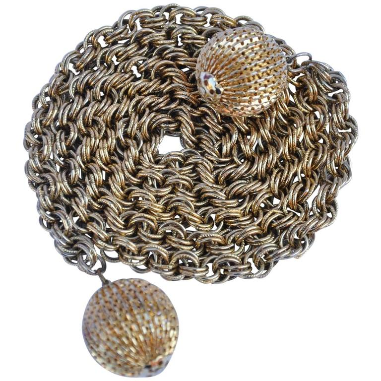 """Gold Hardware Chain Belt with Large """"Ball"""" Tassels"""
