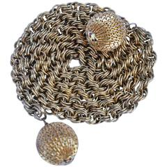 "Gold Hardware Chain Belt with Large ""Ball"" Tassels"