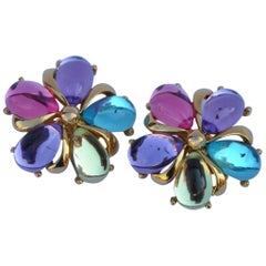 Trifari Multi-Color Floral Ear Clips