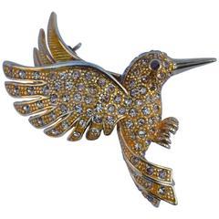 "Large Gilded Gold ""Humming Bird"" Brooch"