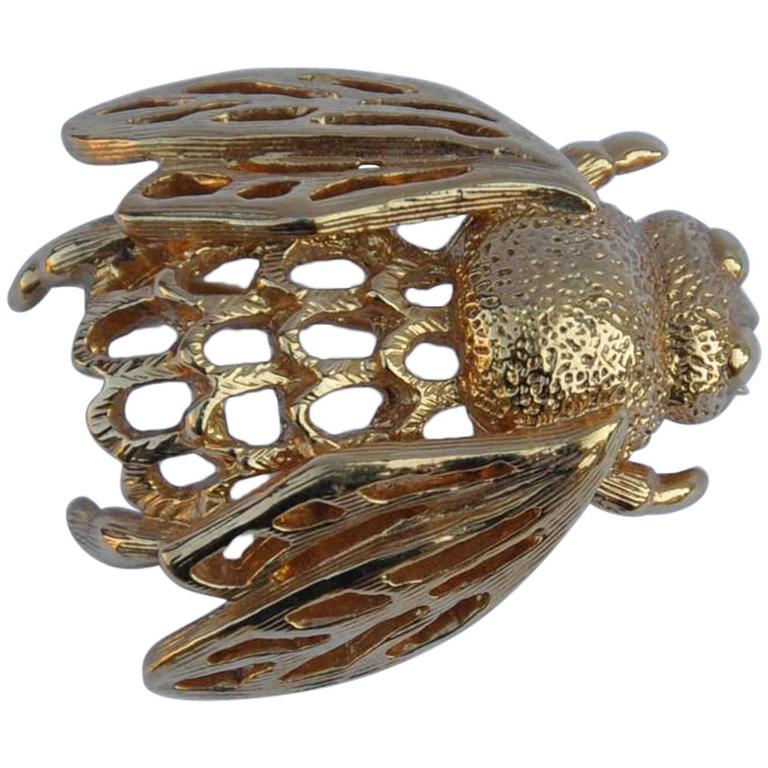 Napier Gold Tone Bumble Bee Brooch For Sale at 1stdibs