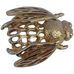 Napier Gold Tone Bumble Bee Brooch